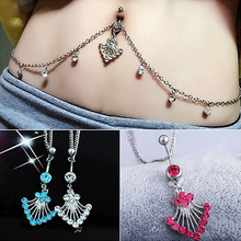 Charming Rhinestone Navel Ring Belly Button Bar Waist Chain Body Piercing Jewelry