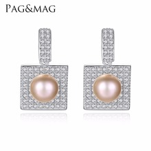PAG&MAG Brand New 8-9mm Natural Pearl With 925Sterling Silver Earrings Birthday Gift Jewelry Accessories Stud Earrings for Women