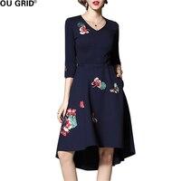 Flower Embroidery Party Dress Women Spring Elegant Slim Three Quarter Sleeve Dark Blue Big Swing Dress