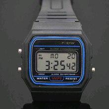 Led Digital negro de plástico relojes hombres reloj deportivo luminoso F91W reloj electrónico
