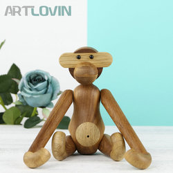Natural Wooden Piquant Hanging Monkey Doll Figurines Teak Wood Creative Animal Statues Models Home Decoration Arts and Crafts