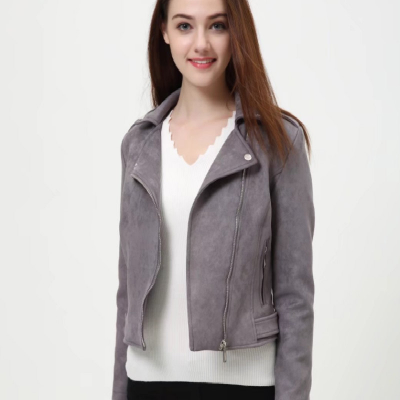 S-XL Slim Short Fashion   Leather   Jacket Deerskin Jackets Women   Suede   Solid Color Faux   Leather   Coat