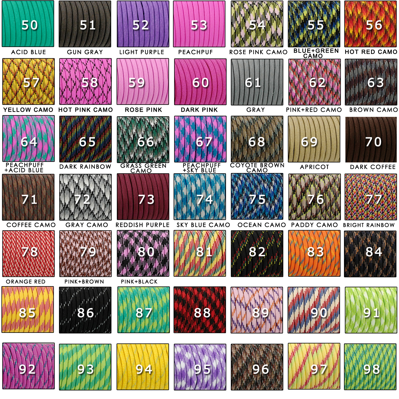 YOUGLE 550 Paracord Parachute Cord Lanyard Tent Rope Guyline Mil Spec Type III 7 Strand 50FT 100FT For Hiking Camping 259 Colors 3
