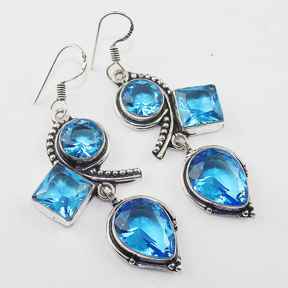 Blue Topas Earring Silver Overlay over Copper 63 mm E0940 in Drop Earrings from Jewelry Accessories