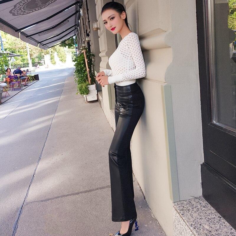Lulu Leggings réel précipité nouveauté Faux cuir régulier aucun 2018 pantalons pour femmes tempérament perplexe pantalon évasé Pu femmes - 2