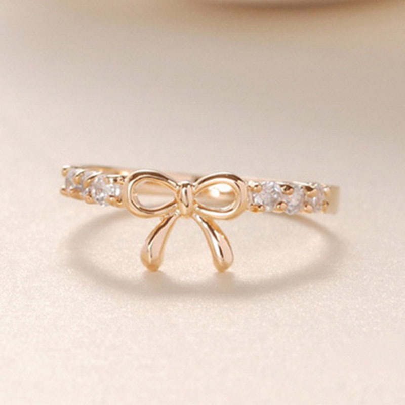 Korean Style Simple Fashion Bow Index Finger Rings for Women