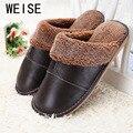 Plus Size 35-44 Couro Genuíno Chinelos Em Casa Inverno Quente Não-Escorregar Grosso Quente Sapatos Casa de Algodão Mulheres homens Chinelos 5 Cores