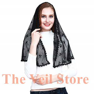 Image 4 - 2019 Ivory Black Lace Chapel Scarf infinity veil Catholic Mantilla Veil for Church Head Cover Latin Mass Mantilla de Novia Negra