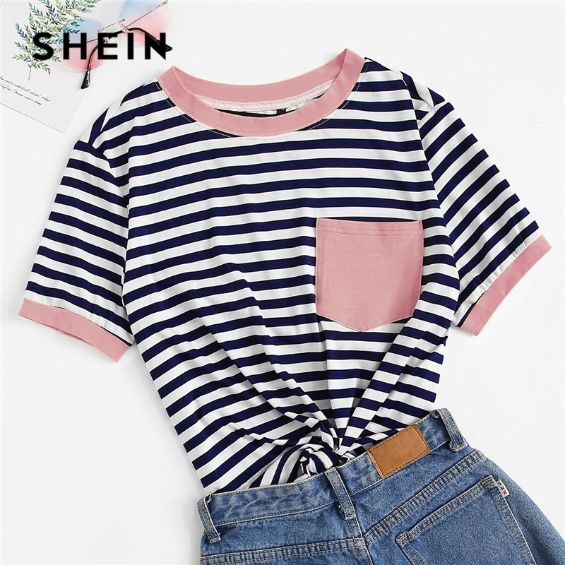 SHEIN Plus Size Patch Pocket Striped Ringer Top Tee Women Summer Preppy Round Neck Striped Contrast Binding Stretchy T-shirt