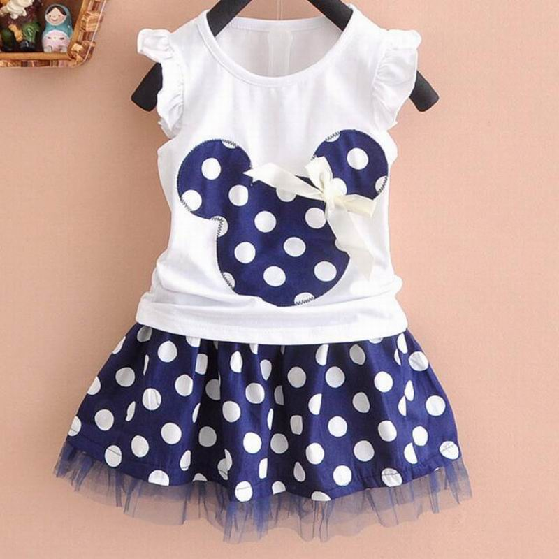 Hot Selling Baby's <font><b>Girls</b></font> Lovely Bow <font><b>T</b></font> <font><b>Shirt</b></font> + Dot Skirt Suit Set <font><b>Dress</b></font> Outfit image