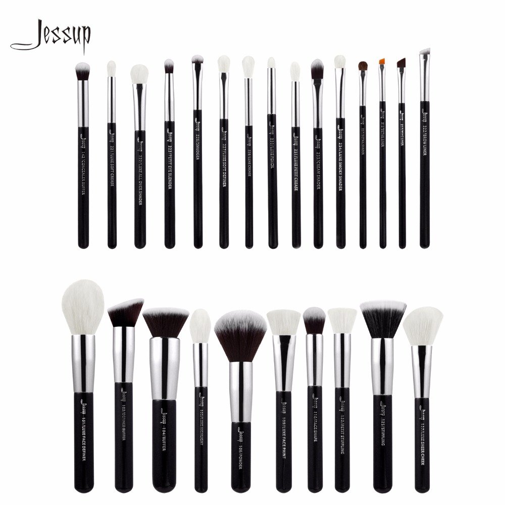 Jessup Brushes 25pcs Black/Silver Professional Makeup Brushes Set Make up Brush Tools kit Foundation Powder Blushes T175 147 pcs portable professional watch repair tool kit set solid hammer spring bar remover watchmaker tools watch adjustment