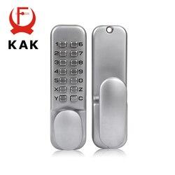KAK سبائك الزنك قفل باب بدون مفتاح قفل مجمع الميكانيكية سلامة الباب قفل قفل برمز للمنزل مقبض الباب الأجهزة 3 Color