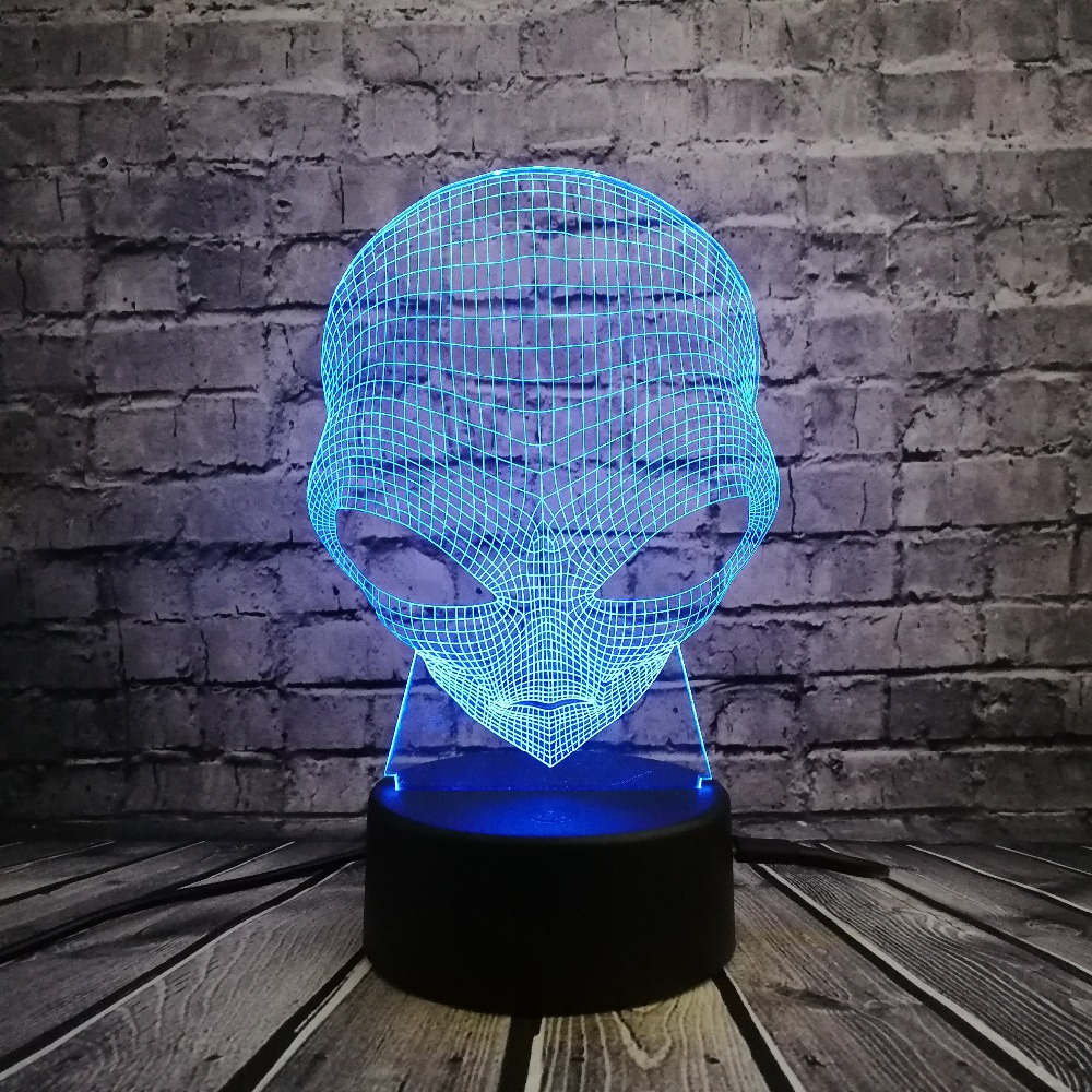 3D Lamp Alien Head Toy USB LED Lighting 7 Colors Changing Illusion Cool Boy Bedroom Decor Table Night Light  Kids Halloween Gift