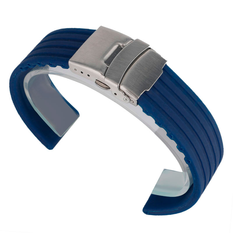 New Soft Silicone Rubber Waterproof Blue Watchbands 20mm 22mm 24mm Folding Clasp Watch Strap Bracelet Replacement Men Women high quality black brown blue red silicone outdoor waterproof watch strap 18mm 20mm 22mm 24mm watchbands replacement for watches
