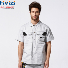 Mens Workwear Shirt Multi Pockets Short sleeved Work Clothes Uniforms Male Mechanic Construction Overalls Safety