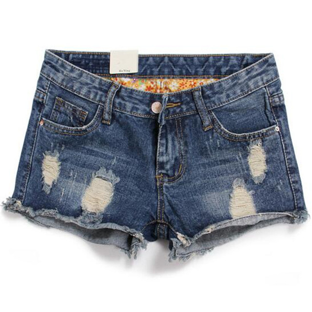 2016 New Plus Size Hollow Out Women Print Jeans Shorts Summer Style Hole Design Denim Shorts for Women Jeans Shorts 26 – 34