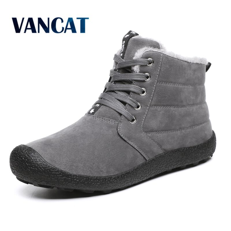 Brand Men Snow Boots Winter Plush Warm Ankle Boots Outdoor Lace-Up Winter Shoes Waterproof Cow Suede Men Boots Big Size 39-48