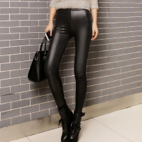 Rihschpiece 2017 Winter Plus Size 3XL Punk Leggings Women Warm PU Leather Pants Black Thick High