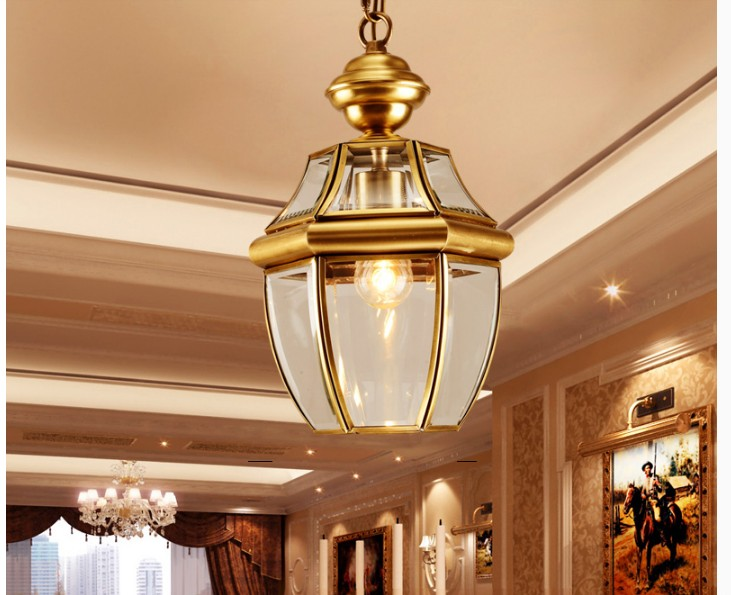 Free Shipping Bronze Pendant Lamp D20cm Brass Chandelier Indoor Vintage Copper Glass Hanging Lamp AC110V/220V 100% Guaranteed newly free shipping 100 240v romantic brass chandelier copper chandelier pendant k9 golden crystal penadnt lamp 100