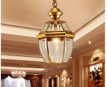 Free Shipping Bronze Pendant Lamp D20cm Brass Chandelier Indoor Vintage Copper Glass Hanging Lamp AC110V/220V 100% Guaranteed
