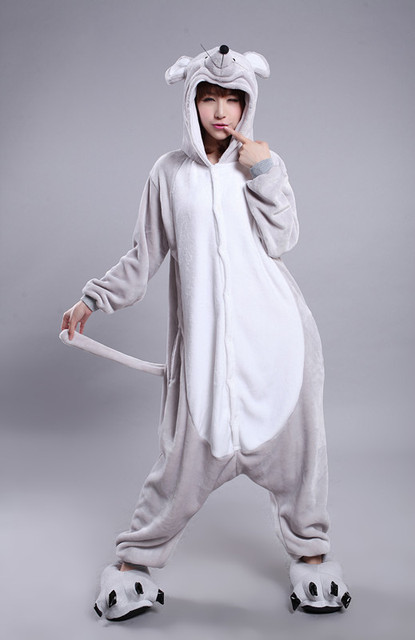 Kigurumi Unisex Flannel Zodiac Mouse Onesie Adult Grey Mouse Pajamas  Cosplay Costume Animal Pyjamas Sleepwear db64acbdc