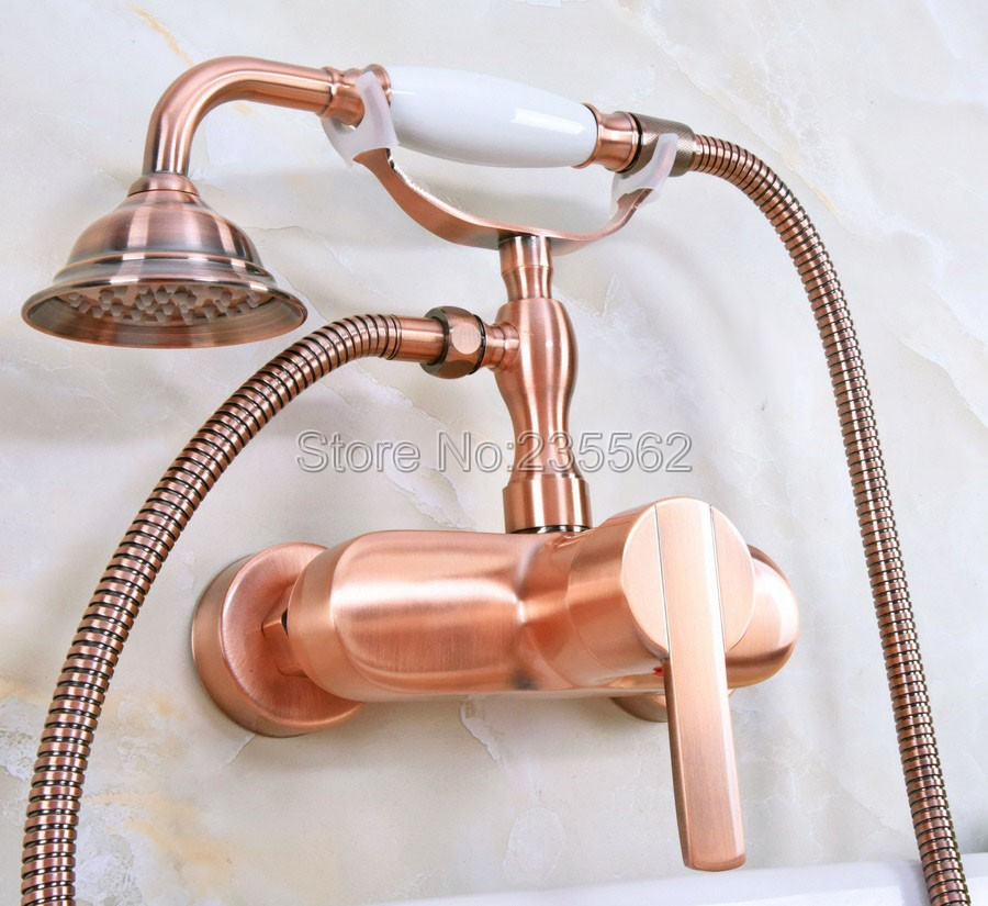 Antique Red Copper Wall Mounted Telephone Style Bathroom Tub Faucet W/ Hand Shower Sprayer Clawfoot Mixer Tap lna320Antique Red Copper Wall Mounted Telephone Style Bathroom Tub Faucet W/ Hand Shower Sprayer Clawfoot Mixer Tap lna320