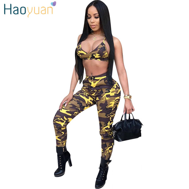 HAOYUAN Camo Sexy Two Piece Set Streetwear Summer Outfits Crop Top and Pants  Suits Matching Sets 2pcs Women Camouflage Tracksuit e15ab61e6