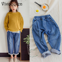 New 2018 Brand Cotton Teenage Girls Jeans Summer Pants Spring Autumn Harm Pant Jeans For Girls