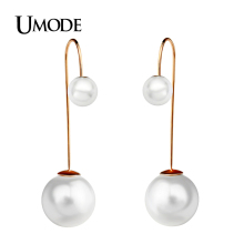 UMODE Brincos  Rose Gold / Rhodium plated Double Simulated Pearl Drop Earrings For Women Christmas Gift Jewelry AJE0254