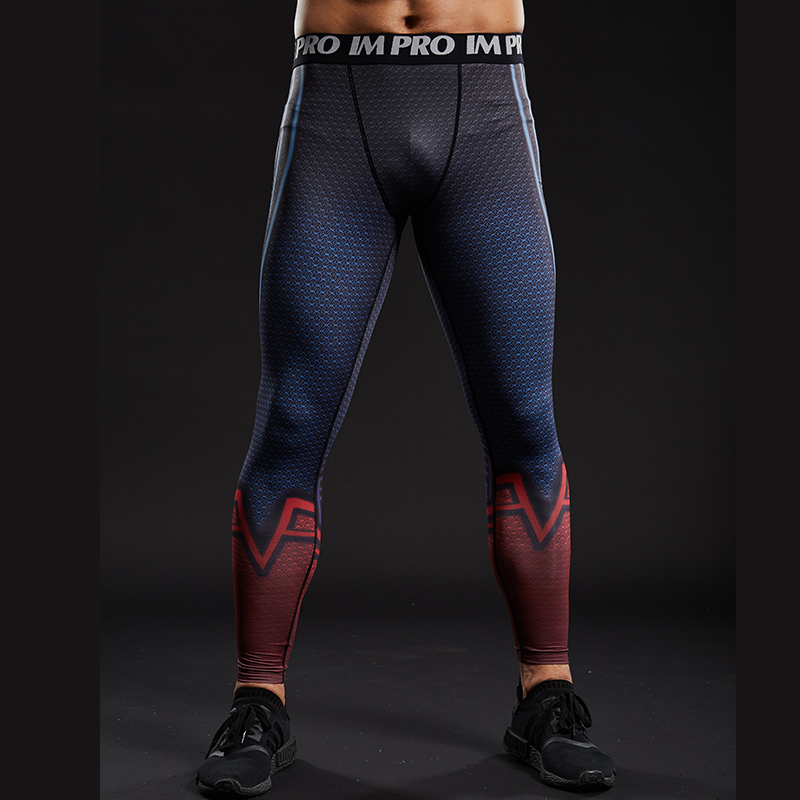 Trousers Male Pants Leggings Compression-Tights Printed Superman Skinny Fitness Brand-New