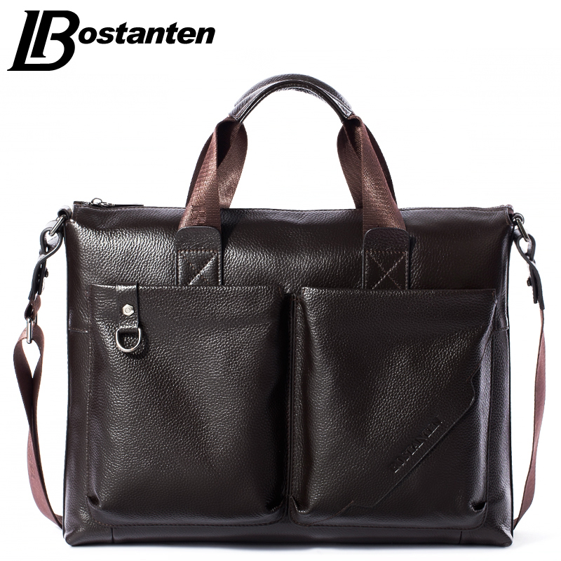 ФОТО Bostanten Men Briefcase 2016 New Soft Leather Handbags Men Shoulder Messenger Bag Crossbody Bag Travel Bag Leather Laptop Bag