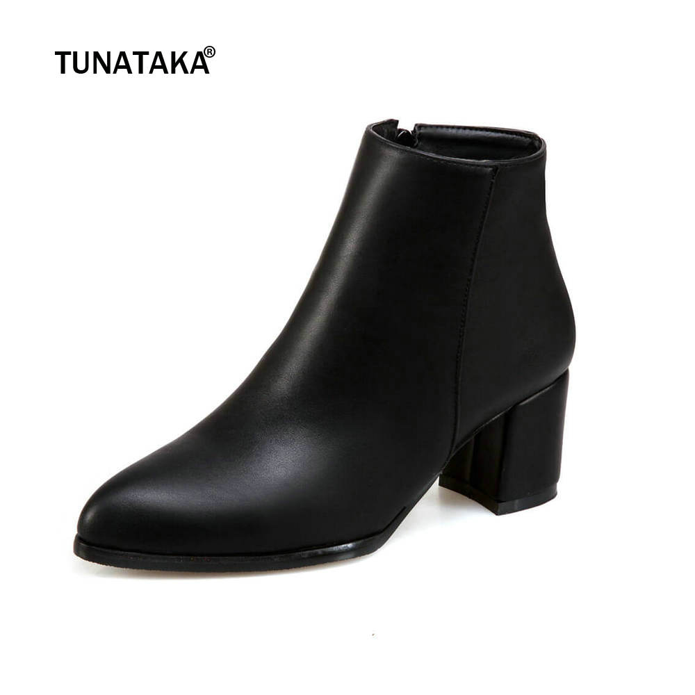 Women Thick High Heel Ankle Boots Winter Fashion Pointed Toe Side Zipper Shoes Woman Black White Yellow women platform square high heel ankle boots fashion side zipper round toe shoes woman black white beige