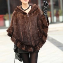 Genuine Mink Fur Cape/Shawl/Poncho coat With Hoody hand knitting Women mink fur coat