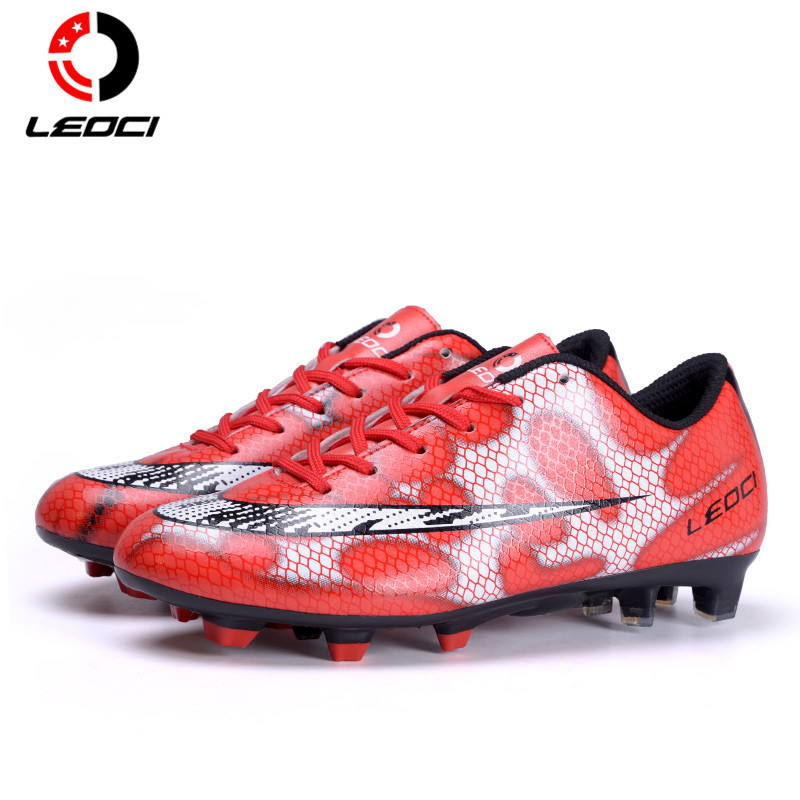 LEOCI TPR+EVA+PU Leather Outdoor Lawn FG Soccer Shoes Firm Ground Football Boots Botines De Futbol For Adult and Kids Size 33-44 dr eagle original superfly football boots man football shoes with ankle soccer boots footbal shoes sock size 38 45 sneakers