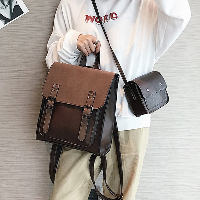 Fashion 2 PCS/SET Leather Vintage Women Backpacks for Teenag