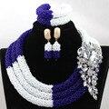 Splendid Royal Azul Mix Branco Mulheres Conjunto de Jóias Africano Nigeriano Contas De Casamento para Noivas New HX899 Gift Set Frete Grátis