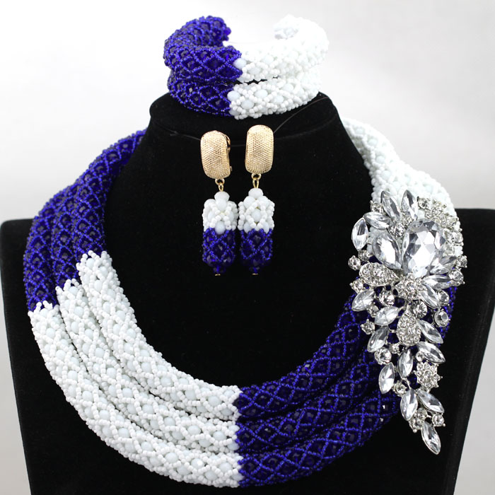 Splendid Royal Blue Mix White African Beads Jewelry Set Nigerian Wedding Beads for Brides New Gift Set Free Shipping HX899