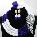 Splendid Royal Blue Mix White Women African Jewelry Set Nigerian Wedding Beads for Brides New Gift Set Free Shipping HX899