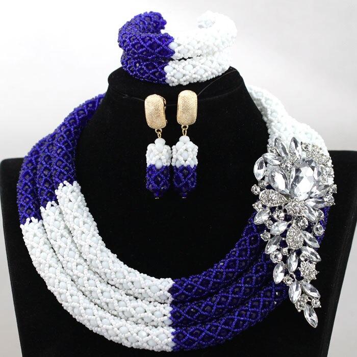 Splendid Royal Blue Mix Wit Afrikaanse Kralen Sieraden Set Nigeriaanse Wedding Kralen voor Bruiden Nieuwe Gift Set Gratis Verzending HX899-in Sieradensets van Sieraden & accessoires op  Groep 1