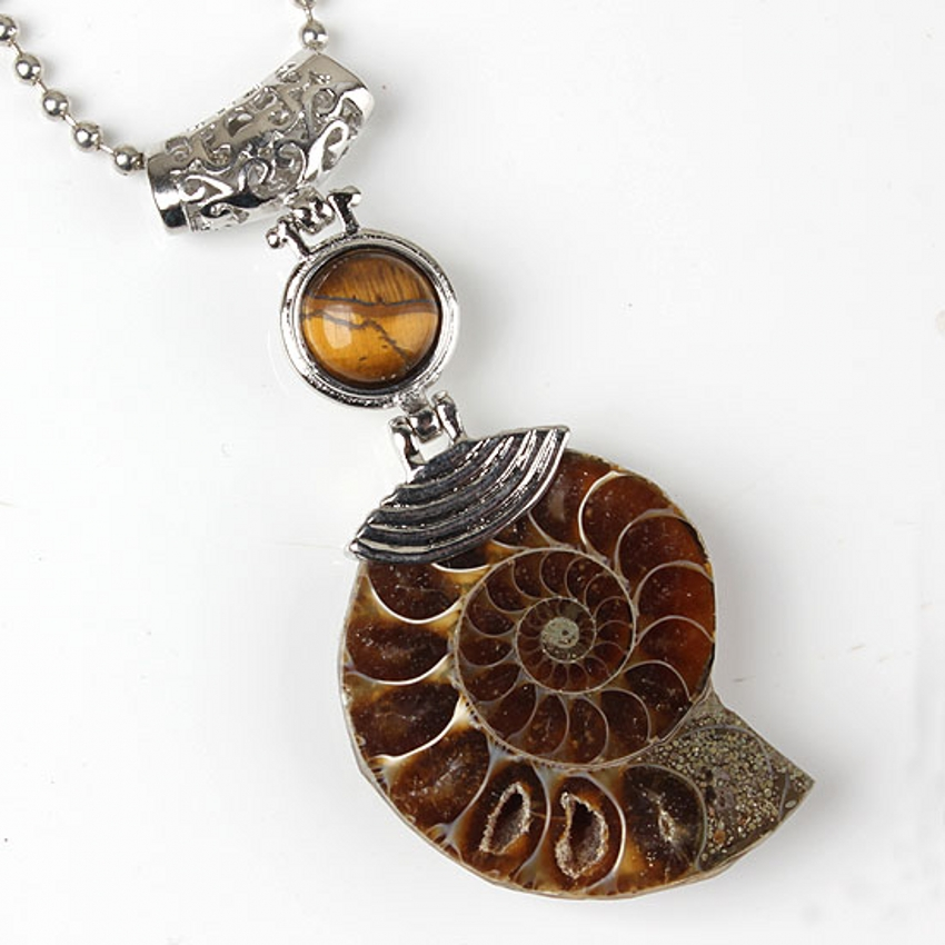 100-Unique 1 Pcs Charm High Quality Natural Ammonite Tiger Eye Stone Pendant For Necklace Fashion Jewelry