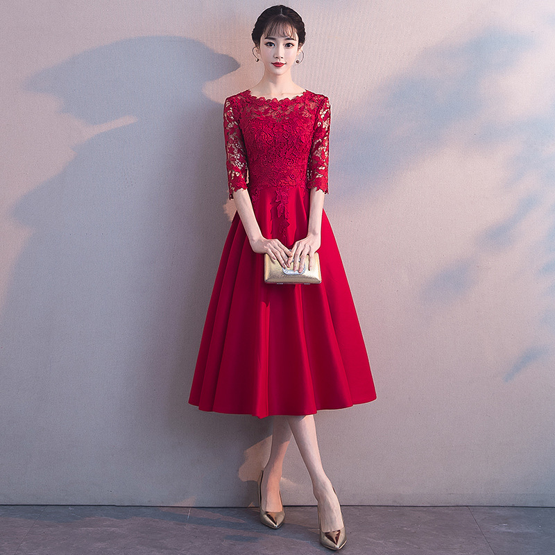 Sexy Hollow Out Half Sleeve Lady Cheongsam 2019 New Lace Floral Elegant Chinese Bride Wedding Dress Improved Slim Qipao S-3XL