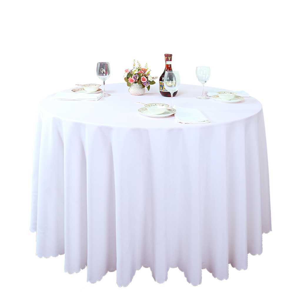 "Wholesale 120"" Round Polyester White Table Cloth Plain"