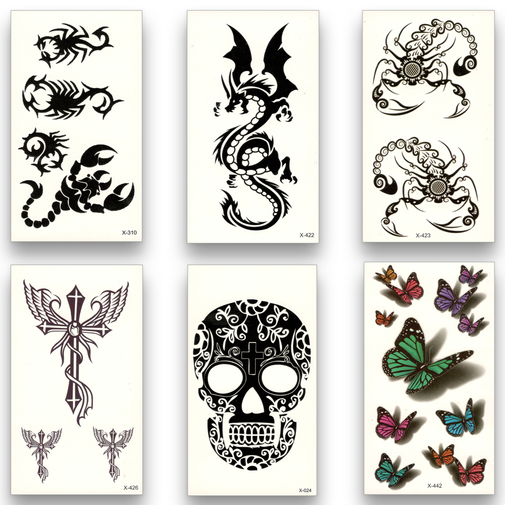 1 Piece Temporary Tattoo Sticker Water Transfer Wing: 12 Sheets Fake Temporary Tattoo Water Transfer Scorpion