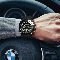 Top Brand Luxury OTS Sport Watch Auto Date Day LED Alarm Black Rubber Band Analog Quartz