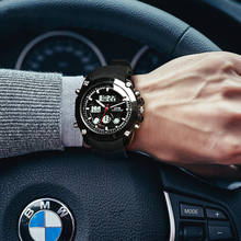 Top Brand Luxury OTS Sports Watches Auto Date Day LED Alarm Black Rubber Band Analog Quartz Military Men Digital Watches relogio