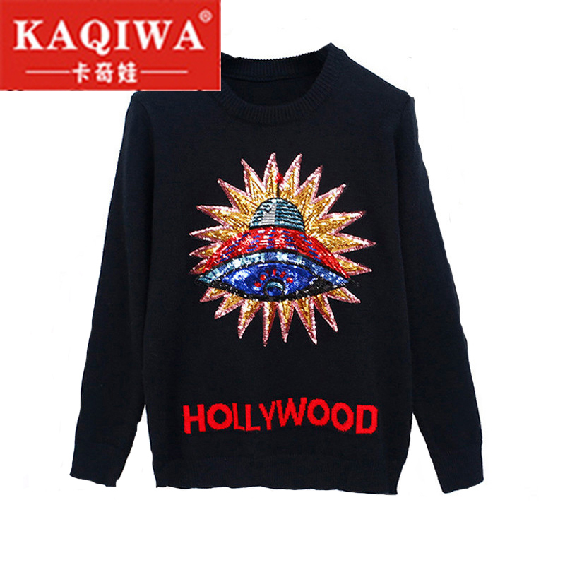 2018 Women New Vintage 3D UFO Sequins Warm Sweaters Long Sleeve O Neck Pullovers Winter Autumn Knitted Retro Tops Blusas