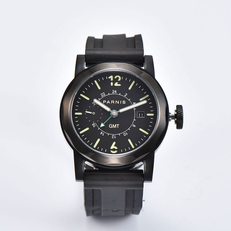 Valentines gifts Romantic Sweet 44mm Parnis Black Dial PVD Luminous Hands Rubber strap Automatic Watch Movement mens WatchesValentines gifts Romantic Sweet 44mm Parnis Black Dial PVD Luminous Hands Rubber strap Automatic Watch Movement mens Watches
