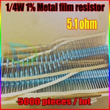 НОВЫЙ 5000 шт. 5.1 ом 1/4 Вт 5.1R 5.1ohm Резистор Металлические Пленочные 0.25 Вт 1% ROHS