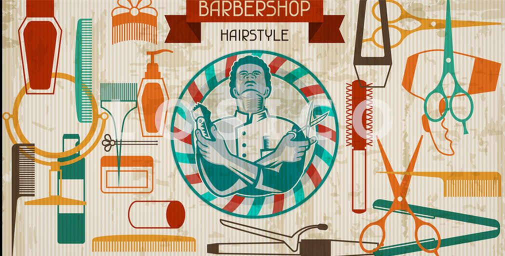 Ретро парикмахер татуировки рисунком kraft Бумага плакат Парикмахерская Декор инструменты парикмахера бритья волос Salon стены стикеры 30X60 см D