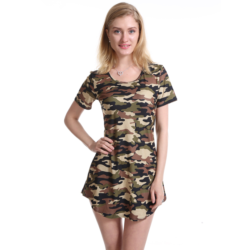 CUHAKCI Women Print Army Green Camouflage Dress Sexy Mini Dresses Summer Dress Short Sleeve Female Hot Sale Vestidos S-XXL